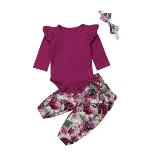 4c95045305388 US $3.76 6% OFF|2019 Brand New Newborn Infant Kids Baby Girls Autumn  Clothes 3PCS Solid Ruffles Long Sleeve Romper Tops+Floral Pants+Headband-in  ...