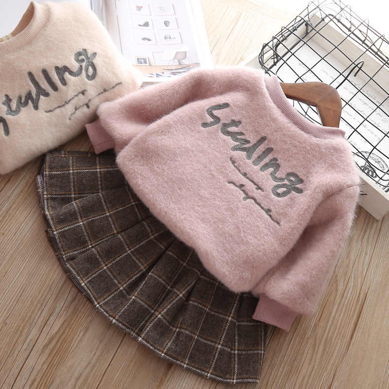 d4b32d8e86d08 winter girl dress long sleeve worm baby girl clothes sets embroidery  letters girls top fashion children clothes new year costume