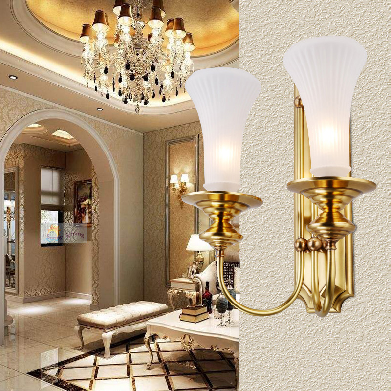 1 2 arms Copper Vill hall wall lamp indoor Wall lighting abajur Glass lampshade Dining Room Bedroom Mediterranean wall sconce|led display lamp|led light license plate|led caving lamp -