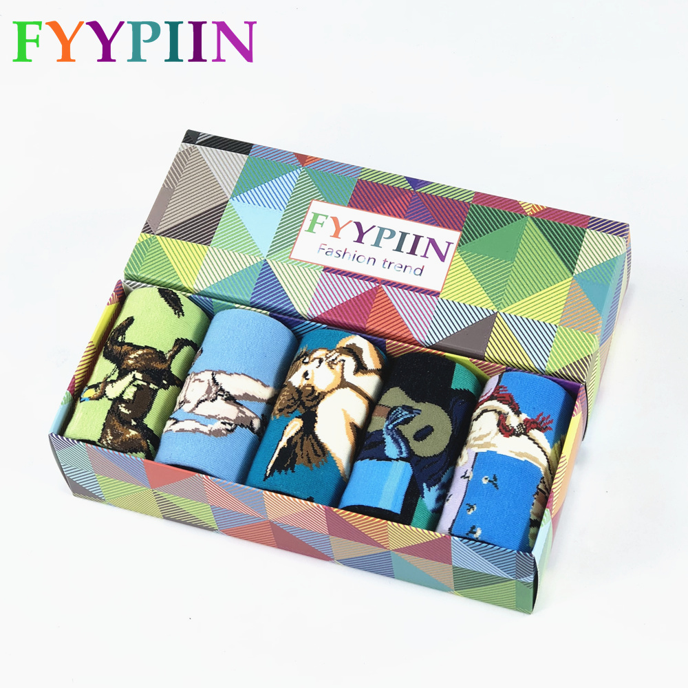 Happy Socks Limited Standard Casual 2020 New Men's Funny Socks Gift Set Oil Painting Series Combed Cotton Novelty Men 5 Pairs