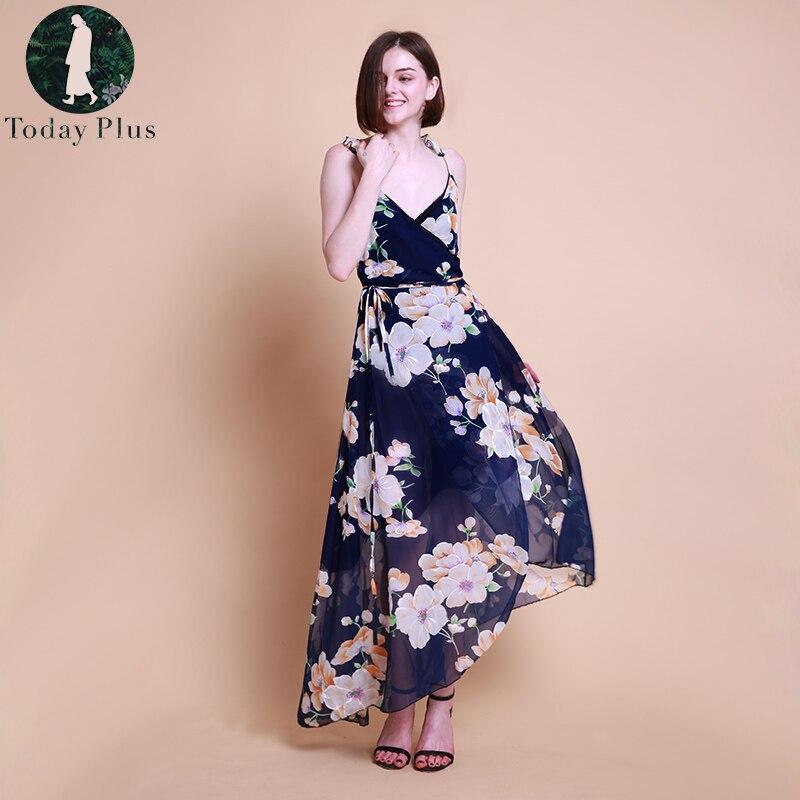 Плюс размер длинное платье Для женщин модные летние пляжные платья с v-образным вырезом и Цветочный принт Винтаж шифоновое белое платье Maxi ...