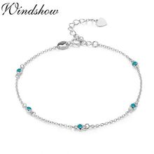 Slim Round Blue CZ 925 Sterling Silver Chain Charm Foot Jewelry Anklet For Women Girls Leg Bracelet Enkelbandje Halhal Tobillera(China)