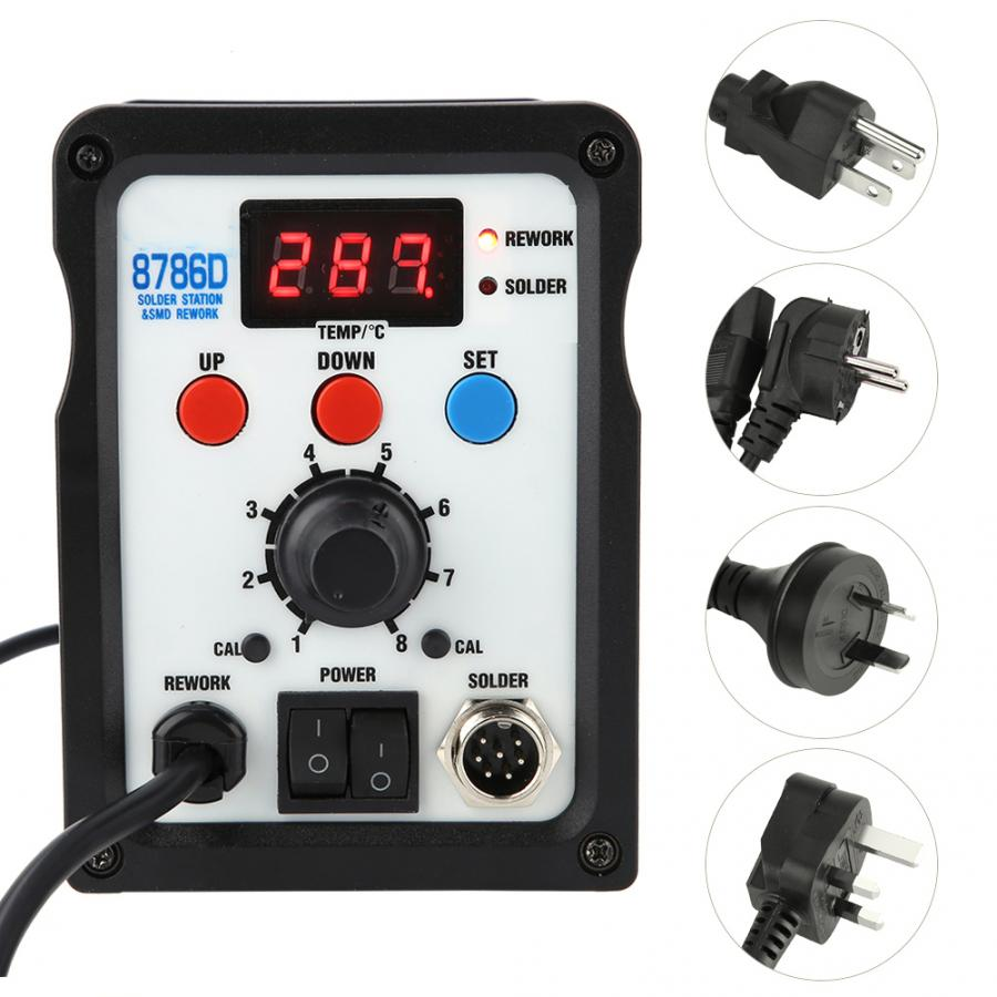 8786D 2 in 1 SMD Rework Station with Hot Air Gun Soldering Iron for Phone Repair
