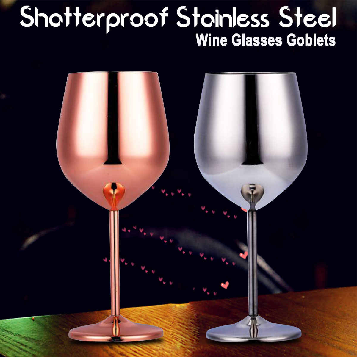 Stainless Steel Red Wine Glass Silver Rose Gold Goblets Juice Drink Champagne Goblet Party Barware Kitchen Tools 501-600ml