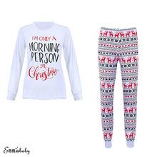 2018 Merry Christmas Pajamas Women Santa Sleepwear Nightwear Lounge Clothes  Top Pants Home Suit Pajamas Set 3f08be48b