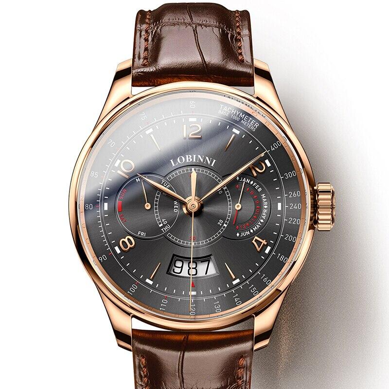 Suisse LOBINNI hommes montres de luxe marque montre hommes saphir étanche miborough automatique mécanique montres L16013-2