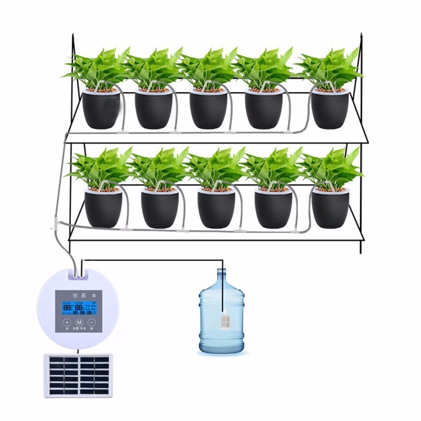 2019 Solar Charging Automatic Watering Device Home Intelligent Timing Irrigation Tool Water Pump Seepage Drip Watering Flowers