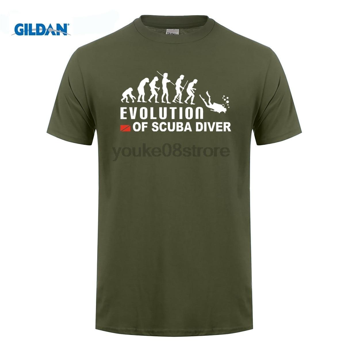 GILDAN Evolution Of Scuba Diver Dive Down Flag Funny Black T-shirt Men Summer Cotton T Shirt Tops Tees