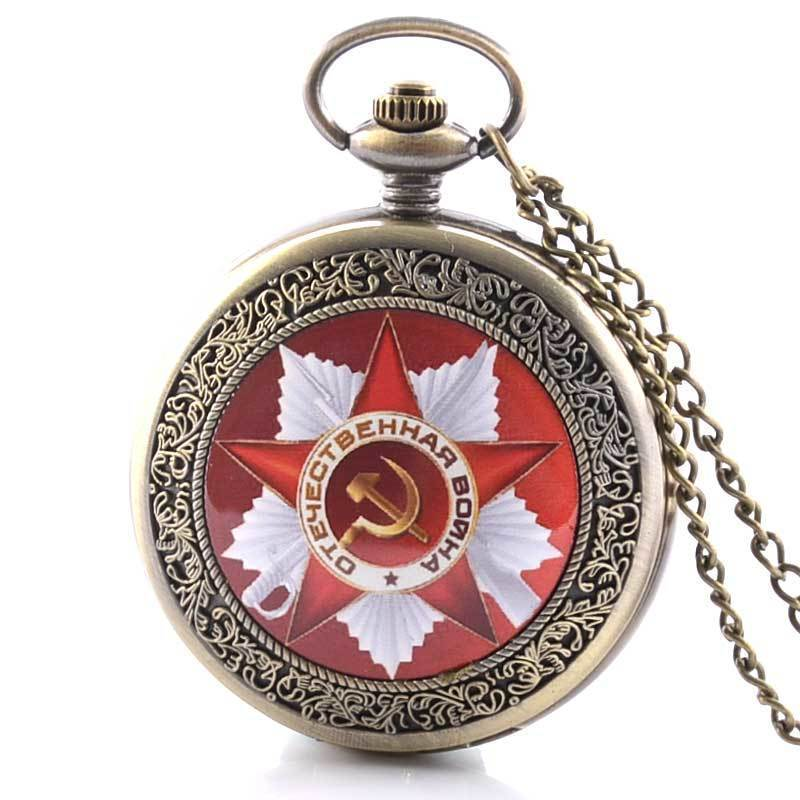 IBEINA Vintage CCCP Russia Soviet Retro Pocket Watch Quartz Necklace Pendant Antique