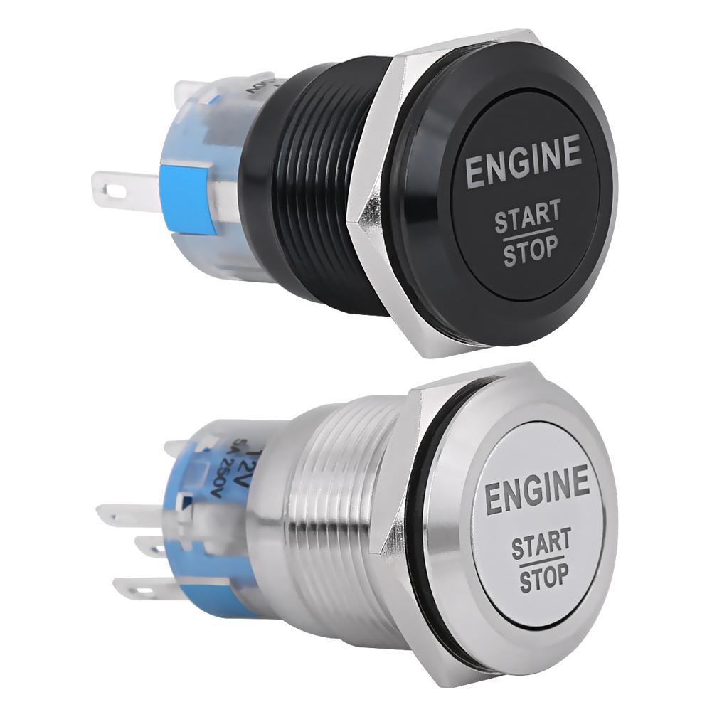 19mm 5 Pin Metal Latching Locking Switch NO NC for Headlights Yellow 12V Car LED Light Push Button Switch Fog lights