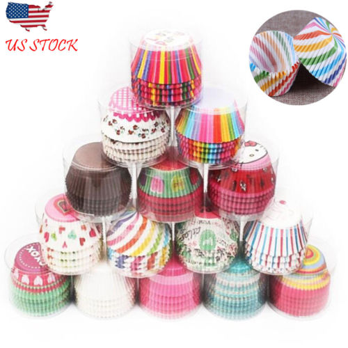 100PC Paper Cup Soft  Muffin Chocolate Cupcake Bakeware Baking Cup Mold Mould