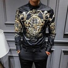 2019 Black Gold Print Shirts men Baroque Slim Fit Party Club Shirt Men Camisa Homem luxury Long Sleeve Plus Size 4XL