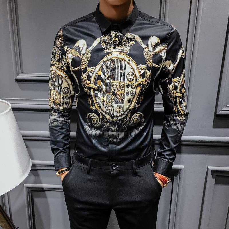 2019 Spring Autumn Black Gold Print Shirts Men Slim Fit Shirt Men Luxury Long Sleeve Shirt Plus Size