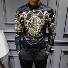 2019 Spring Autumn Black Gold Print Shirts Men Slim Fit Shirt luxury Long Sleeve Plus Size