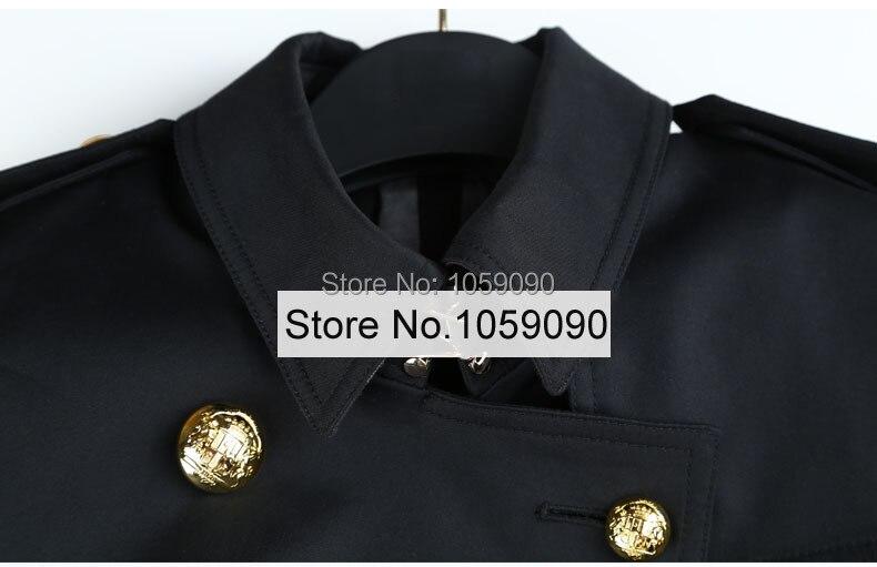 Noir Ceinturée Breasted Or En Taille 2018 Manches Coton Épaulettes Classique Boutonné Trench Longues coat À Relief Double Long xWrdeQCBo
