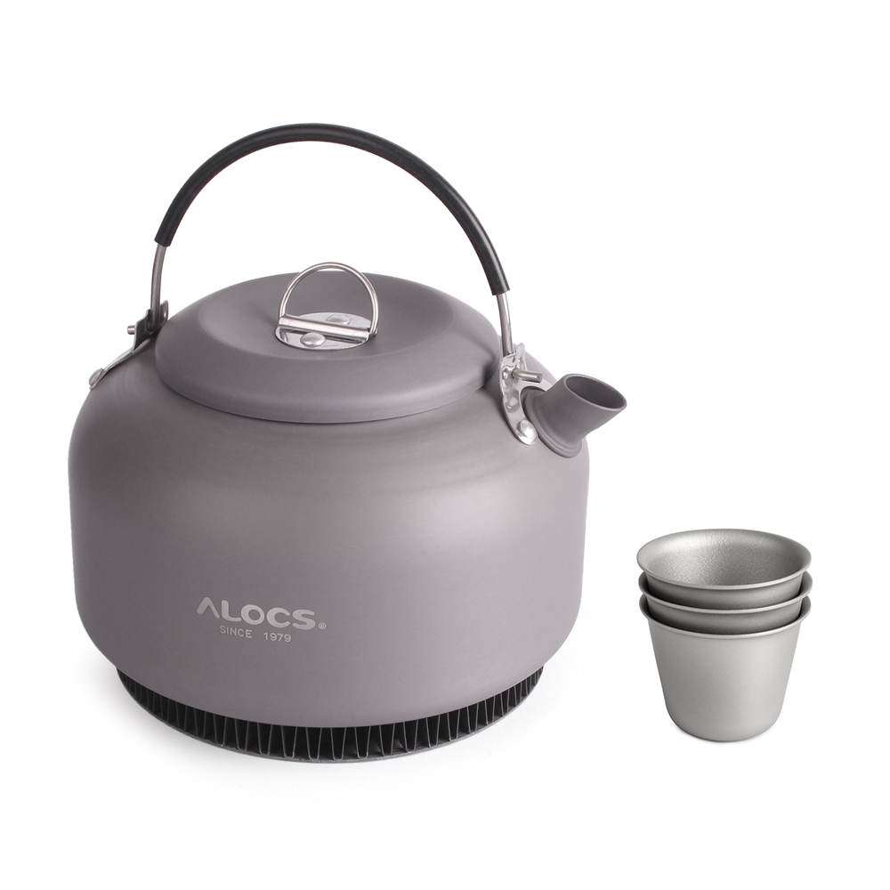 1.4L Outdoor Camping Water Teapot Aluminum Alloy Kettle Hiking Coffee Pot Portable Cookware Picnic Tableware with Mesh Bag