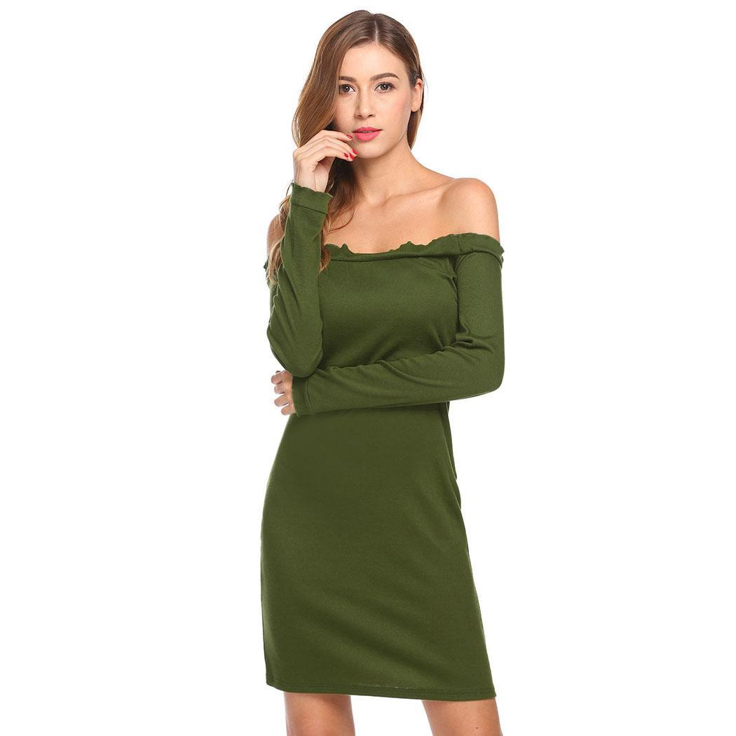 AL'OFA Women Off Shoulder Sexy   Cocktail     Dress   Ruffles Long Sleeve Bodycon Club Party   Dress   Formal Robe Homecoming   Dresses