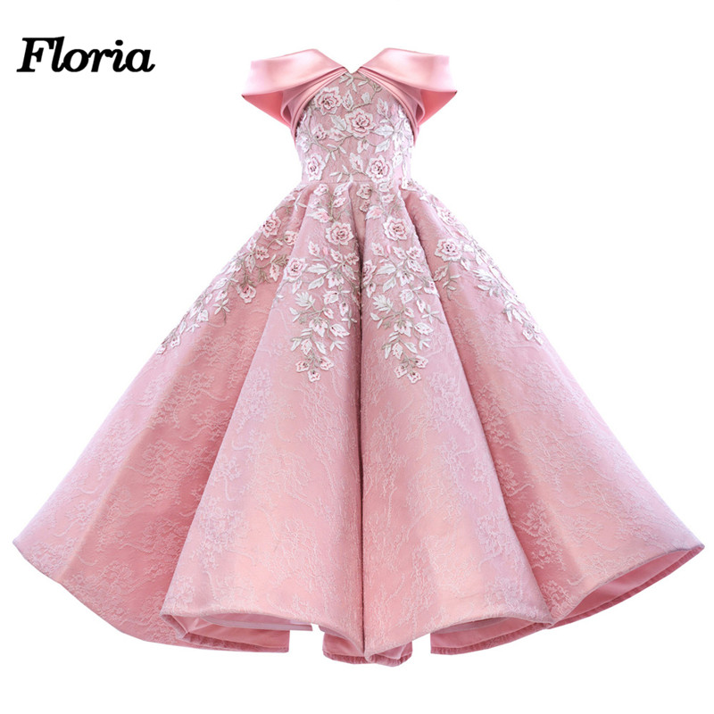 Lace Pink   Prom     Dresses   With knee Lenght Abiye 2018 Arfican Dubai Formal Evening Gowns Robe de soiree Abendkleider Pageant   Dress