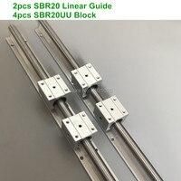 2pcs SBR20 linear guide 1500 mm 20mm Linear rails 4pcs SBR20UU Ball Bearing Block CNC Router