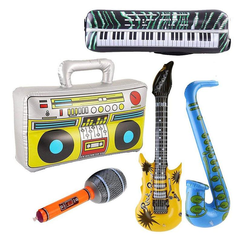 5pcs Inflatable Musical Toy Radio Instruments Microphone Set Cool Fun Instruments Inflatable Toys Decorations Props Party Favor