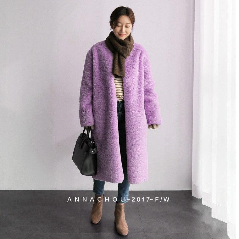 yellow Manteaux Femme D'hiver De Vêtements Pardessus Fourrure gray pink Mode Fausse Beige En Marque Manteau Grande Poches Femmes Long purple Veste Chaud Taille Peluche Décontracté wXPnqSH7