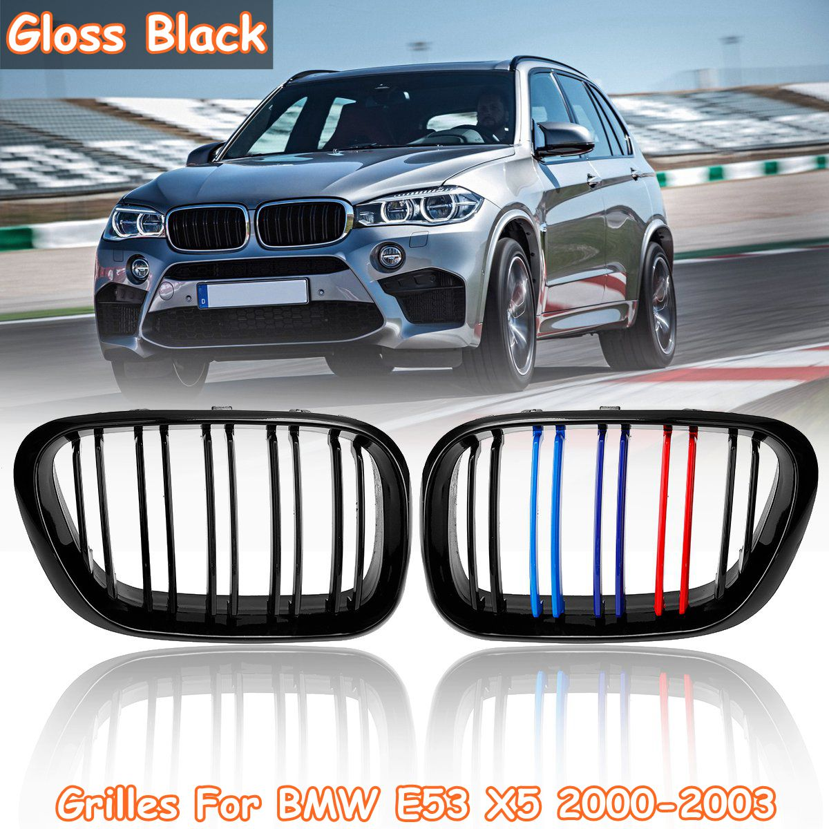 Pair Matte Gloss Black Chrome Front Kidney Grille Grills Double Slat For BMW E53 X5 2000 2001 2002 2003 Car StylingPair Matte Gloss Black Chrome Front Kidney Grille Grills Double Slat For BMW E53 X5 2000 2001 2002 2003 Car Styling