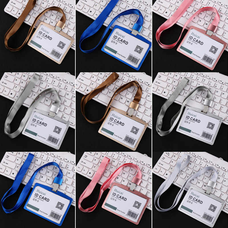 New 1PC Aluminum Alloy Work Name Card Holders Business Work Card ID Badge Lanyard HolderMetal ID Business Case