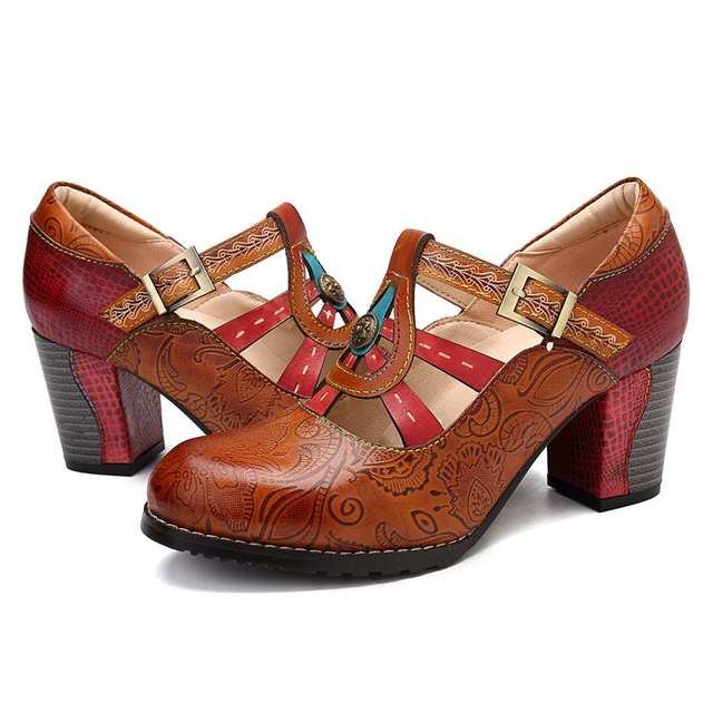 SOCOFY Elegance Vintage Hollow Out Chunky Heel Leather Pumps Stitching Weave Hook Loop Retro Shoes Women Bohemian Pumps New 1