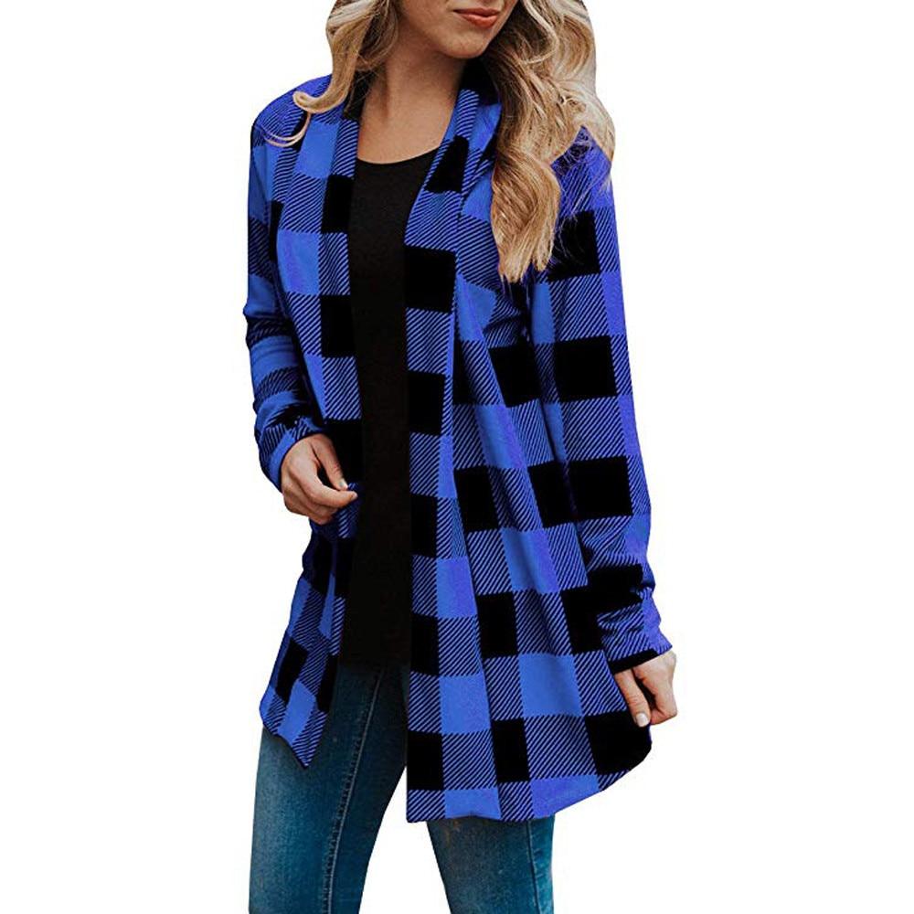 Women   Basic     Jacket   Cardigan   Jacket   For Woman Buffalo Plaid Cardigans Long Sleeve Elbow Patch Draped Open Front Fmale Jackega
