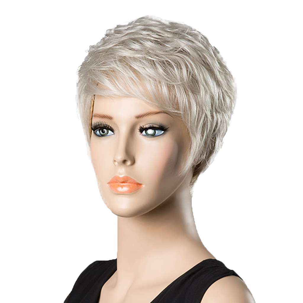 Chic Short Wigs for Women Human Hair & Bangs Fluffy Layered Wig Silver Gary Heat Resistant Female Cosplay Wig