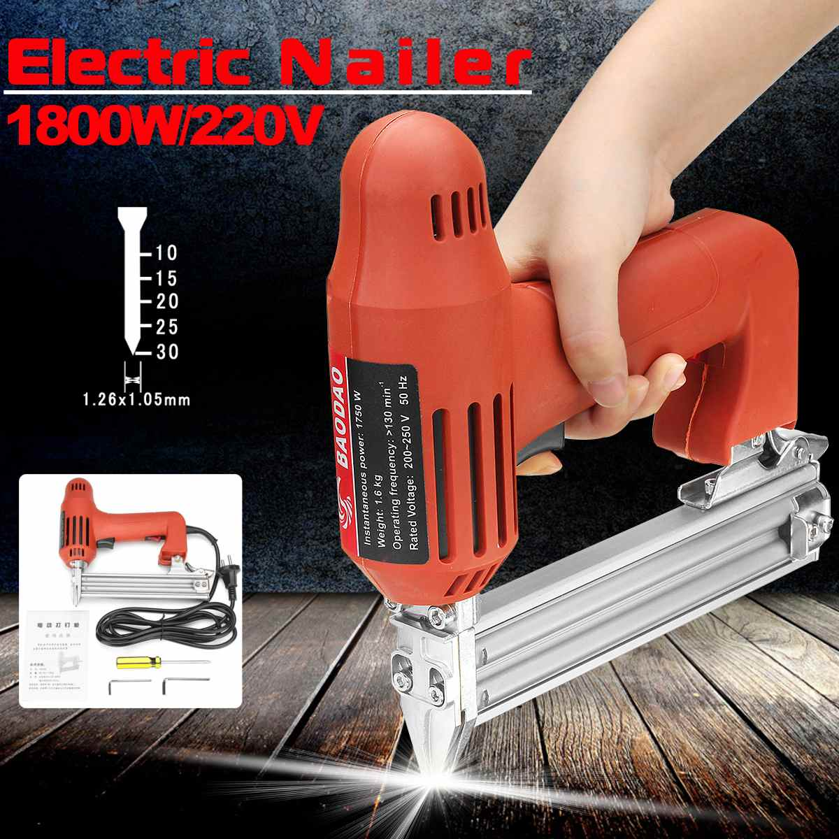 10-30mm 220V 1800W Electric Nailer Straight Nail Staple Guns Woodworking Tool Light Weight Portable 60/min Firing Speed Rate