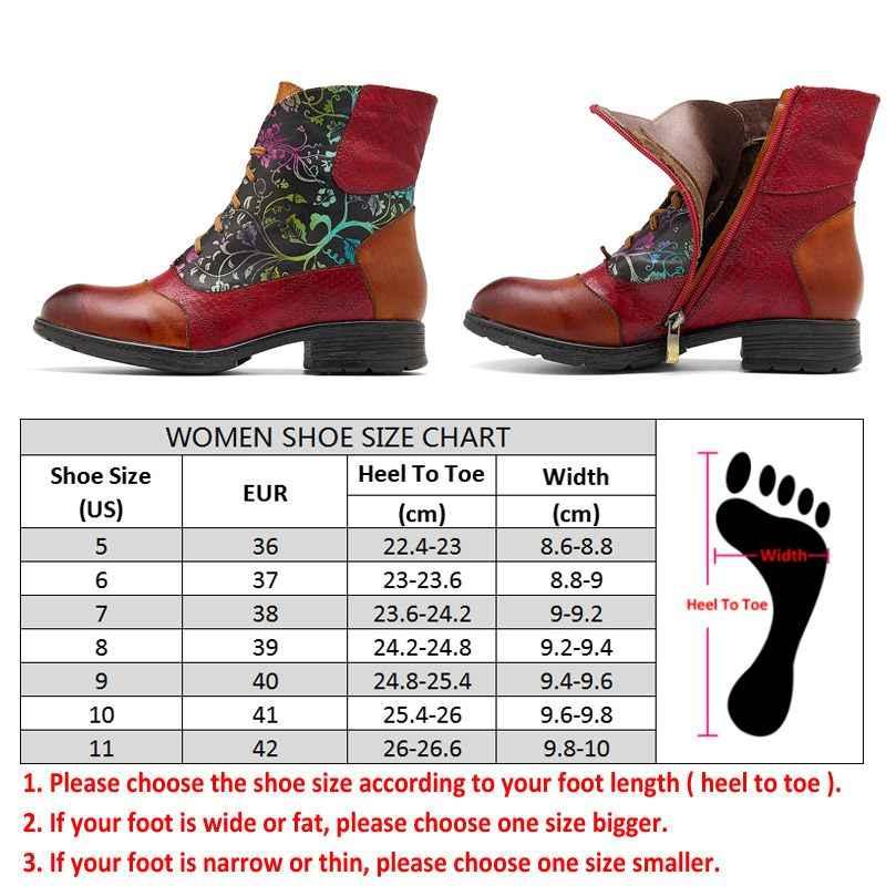 Socofy kısa kürk astarlı çizmeler kadın ayakkabıları Vintage sığır derisi hakiki deri yarım çizmeler Bohemian patik rahat ayakkabılar Botas