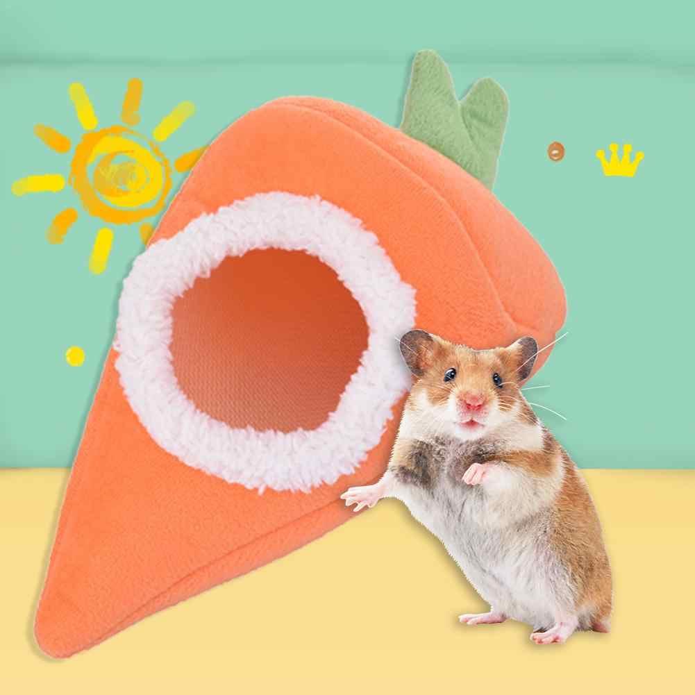 Cenoura Forma Pet Guiné Porco Coelho Chinchilla Hamster Esquilo Hedgehog Cama Ninho Casa Inverno Quente Tapete de Cama Suprimentos Gaiola de Hamster Hamster