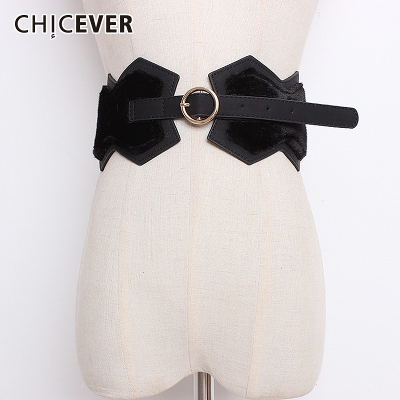 CHICEVER Autumn New Patchwork PU Leather Women's Wide Belt Female High Waist Adjustable Belt For Women Dress Accessories New