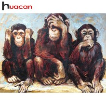 Huacan Diamond Painting Full Drill Square Monkey Embroidery Animal Rhinestones Pictures Mosaic Sale Beadwork