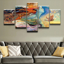 5 Pieces Abstract Indian Girl Painting Wall Art Modular Picture Living Room Home Decor Posters Modern Top-Rated Canvas Print top posters холст top posters 50х75х2см g 1044h