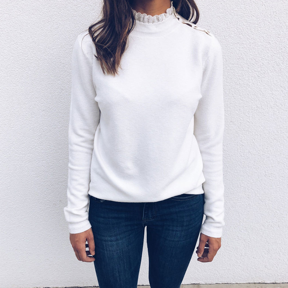 Women's Turtleneck Sweater Winter Warm Knitted Pullover Lace Sweater Korean Style Sweet Shoulder Button Soft Slim SweaterShirts