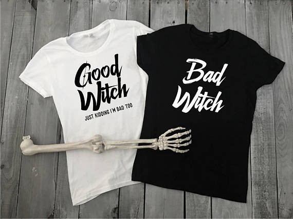 Good Witch Bad Witch T-Shirts women tshirt Best Friend Halloween cotton Shirts Party T shirt Funny girls trend tops-J061