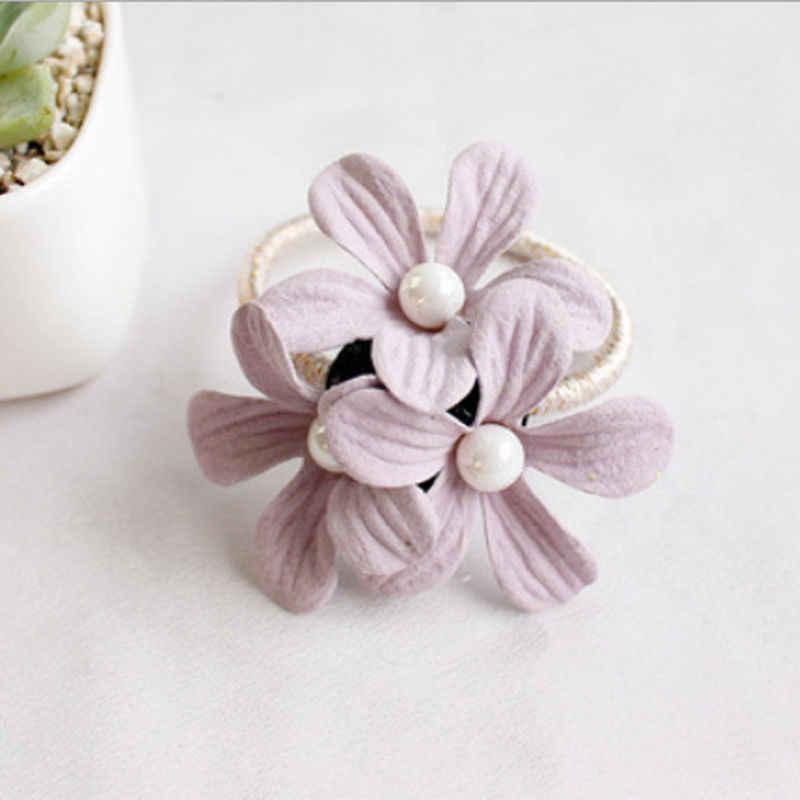 ดอกไม้สาวสาวใหม่เชือกผมผู้หญิง Pearl Scrunchie ผมวงยืดหยุ่นผมแหวนผมอุปกรณ์เสริมผมหางม้ายางวง Headwear ของขวัญ