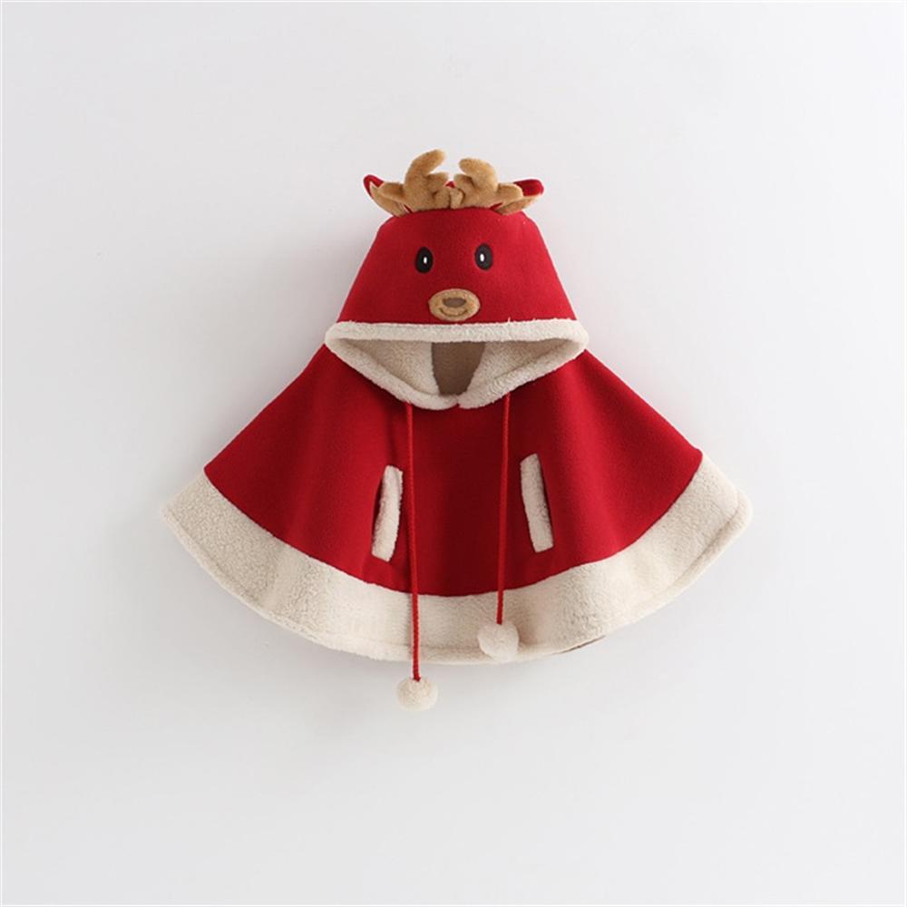 2018 New Children's Christmas 3-8 Years Old Girls Autumn and Winter Plus Velvet Thick Coat Cute Cartoon Elk Christmas Cloak цена 2017