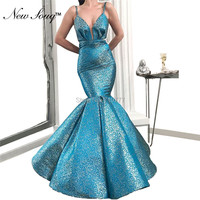 Blue Mermaid Evening Dresses For Women Wear Cheap Morocco Caftan Dubai Kaftan Formal Gowns Wedding Party Dress 2019 New Arrival