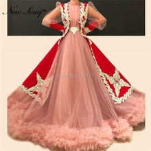 New souq Muslim Formal Evening Dresses Pink Long Sleeve