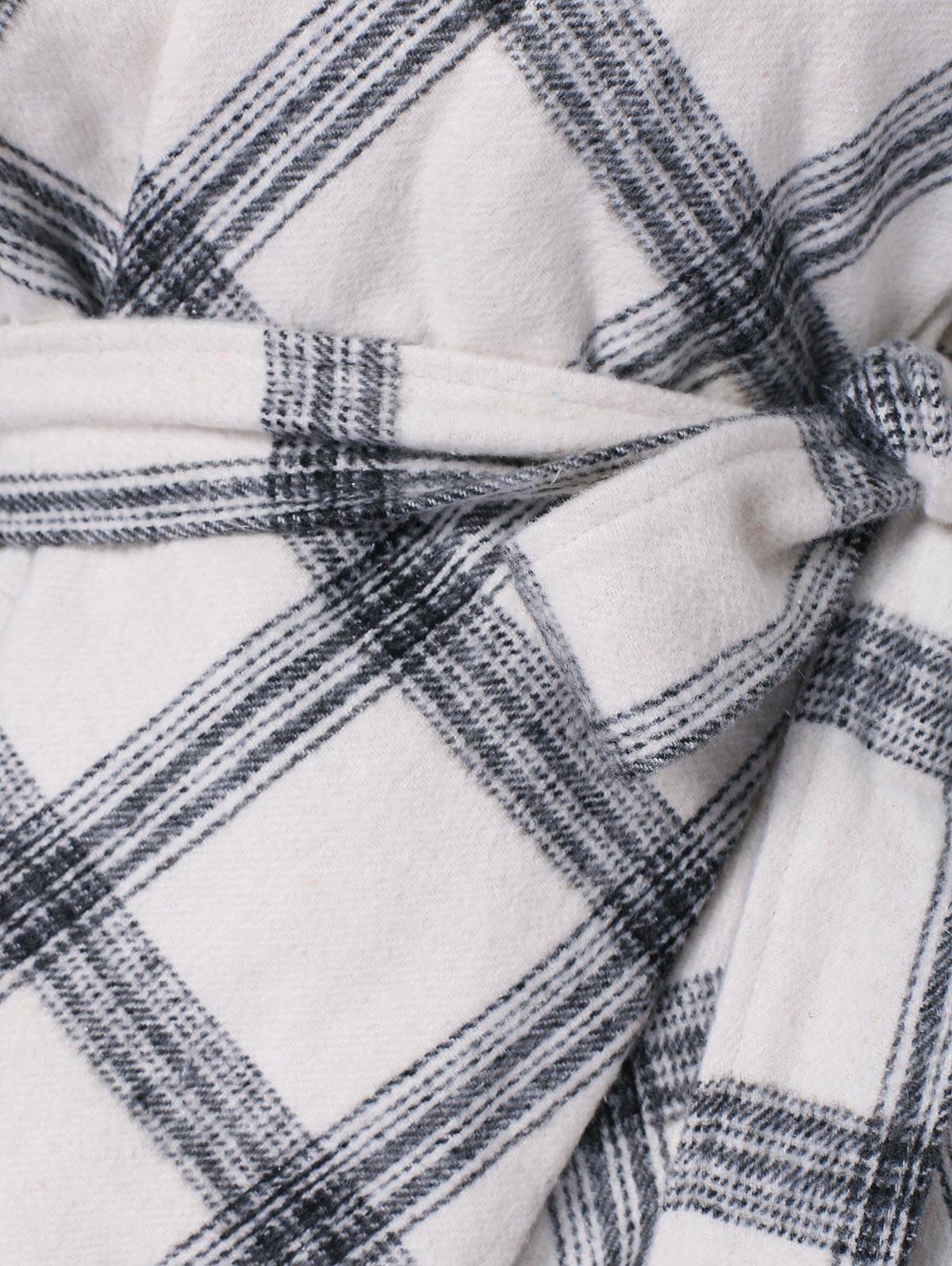 White Blanc Hiver Plaid Châle Femmes À Manteaux Kenancy Taille Asymétrique Femme Col Ceintures Automne Carreaux Noir Imprimé Plus Tops Revers Manteau RzwxxPF