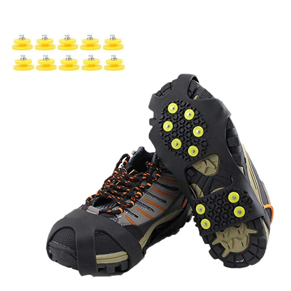 1 Paar Im Freien 10 Zähne Steigeisen Nicht-slip Schuh Abdeckungen Eis Schnee Greifer Überschuhe Mit 10 Ersatz Nägel