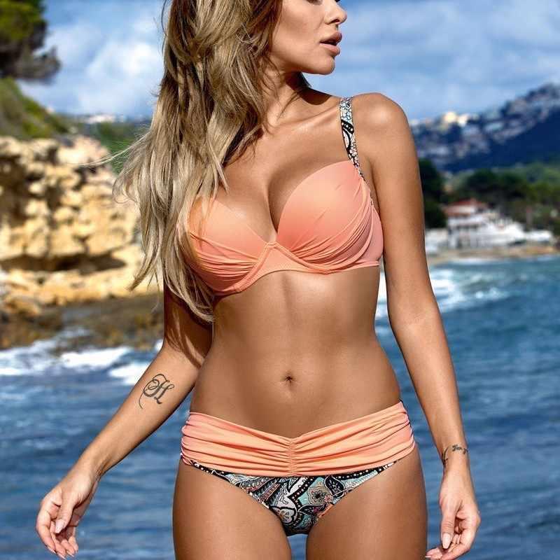 8d3a284d56 Sexy Bikini 2019 Women Top Solid Swimsuit Bottom Print Swimwear Push Up  Bathing Suit Female Beachwear