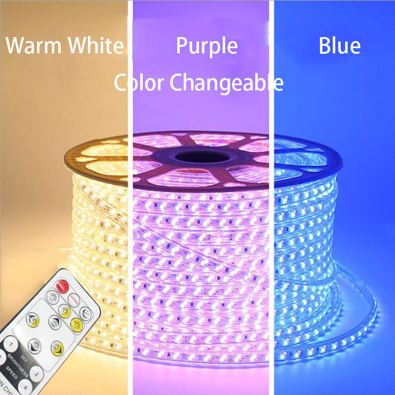 15 50M Dual Color changeable 5730 LED Strip Light WW+Blue CW+WW 220V IP67 Waterproof LED Tape 88LEDs/ M Dimmable LED Striplight