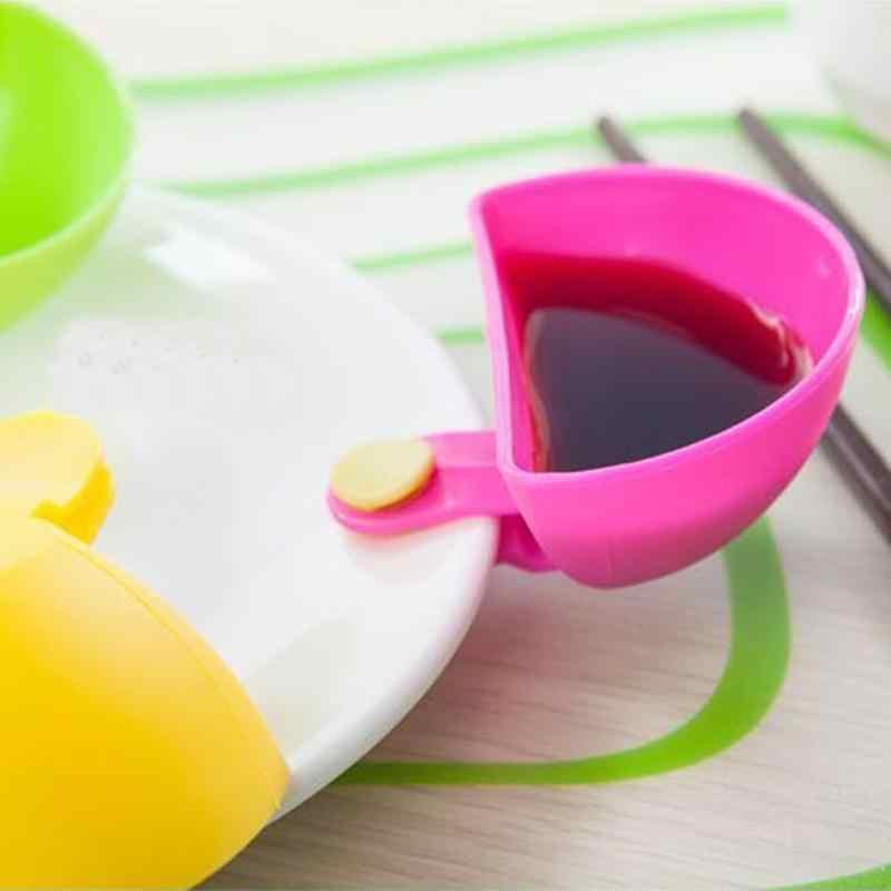 4 pçs pçs/set pires sortidas molho de salada ketchup jam dip clipe copo tigela para tomate vinagre de sal açúcar sabor splice prato café da manhã