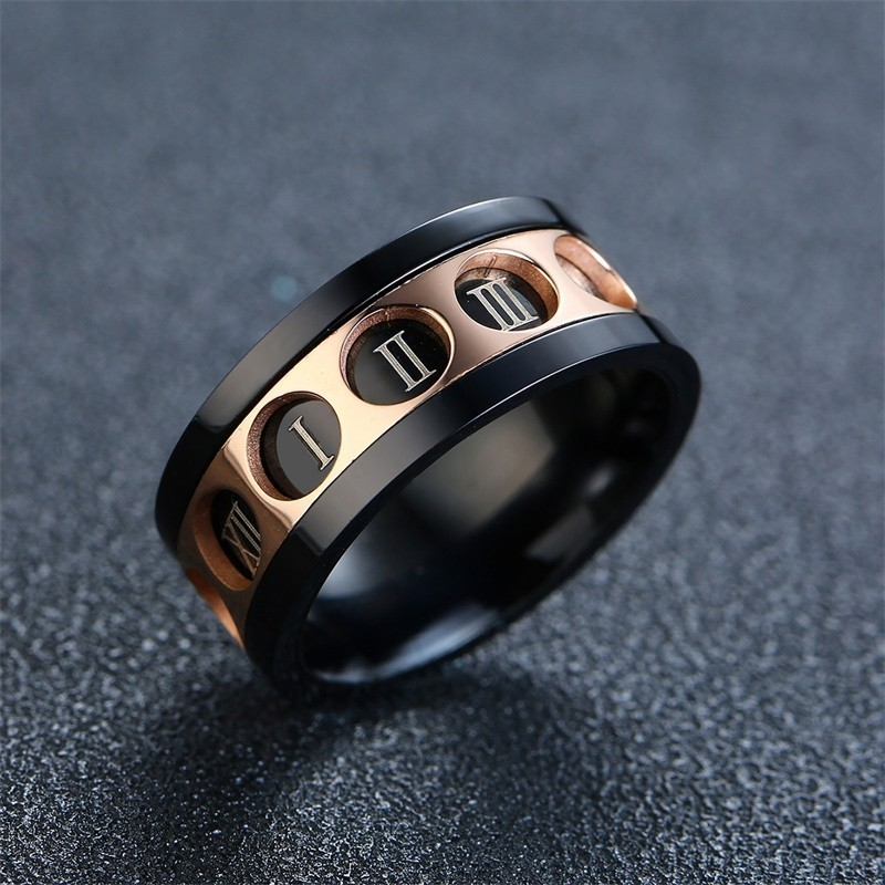 Dutiful ⅠⅡ Ⅲ Ⅳ V Roman Numeral Rings For Men Rose Gold And Black Color Stainless Steel Spinner Wedding Bands Anel Masculino High Quality And Low Overhead Rings