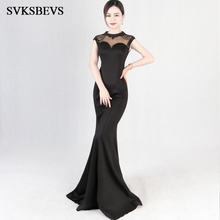 SVKSBEVS Crystal O Neck 2019 Beading Bodycon Mermaid Long Dresses Elegant Party Illusion Zipper Backless Maxi Dress
