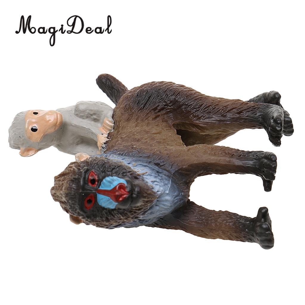 Realistic Mandrill Female Baby Monkey Model Action Figure Kids Toys Gift